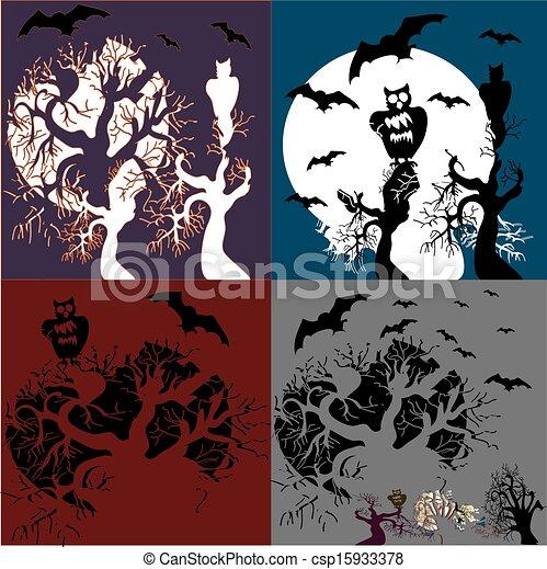 Halloween, el vector puso una ilustración. - csp15933378