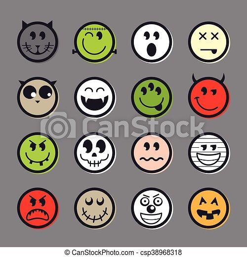 Halloween vector emoticon icon set collection - csp38968318