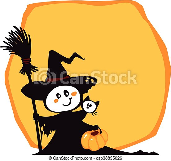 Halloween Witch And Cat On An Yellow Background
