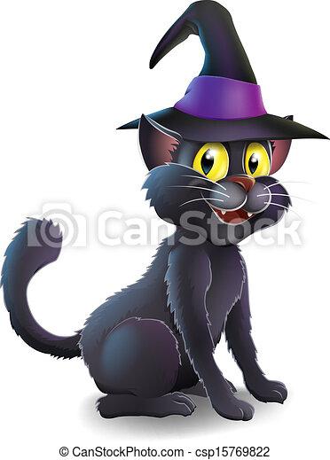 Halloween Witch Cat - csp15769822