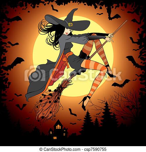 halloween witch - csp7590755