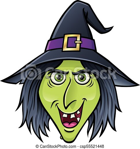 Halloween Cartoon Witch Face.Halloween Witch Face