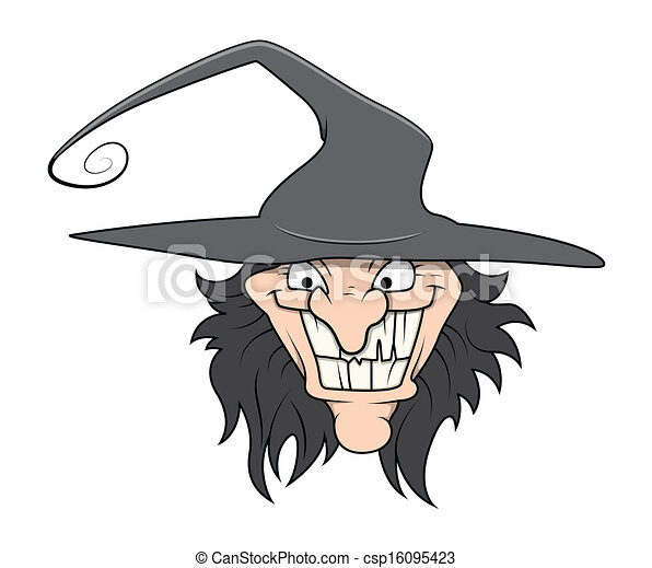 Halloween Cartoon Witch Face.Halloween Witch Face Vector