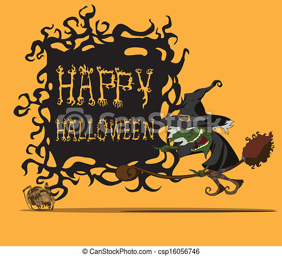 halloween witch flying on broom - csp16056746