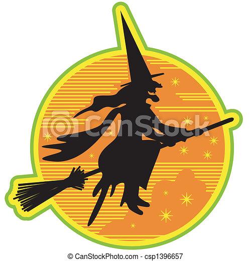 Halloween Witch On Broomstick Retro - csp1396657