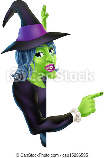 Halloween Witch Pointing - csp15236535
