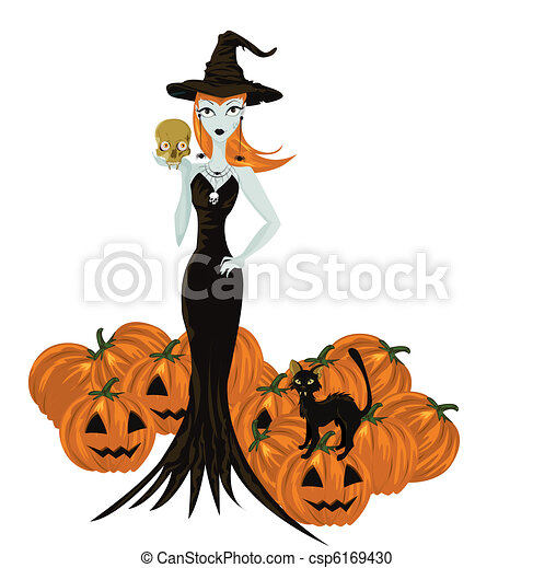 Halloween witch standing with skull and pumpkins  - csp6169430