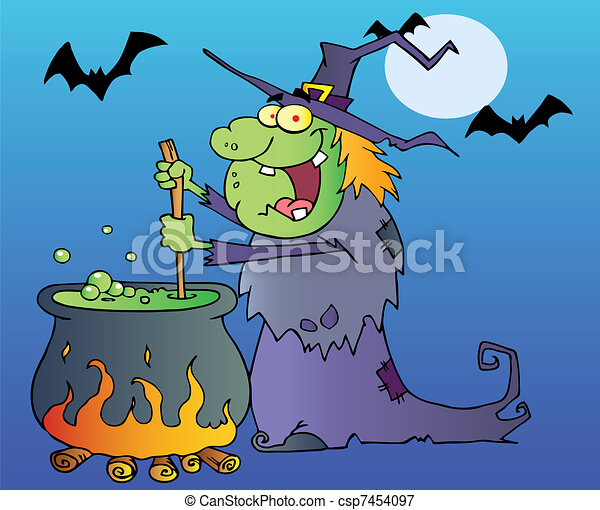 Halloween Witch Stirring A Potion  - csp7454097