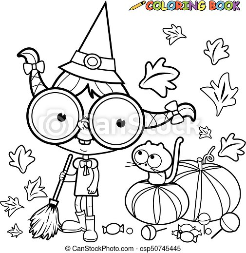 halloween witch sweeping pumpkin leaves black and white coloring book page vector