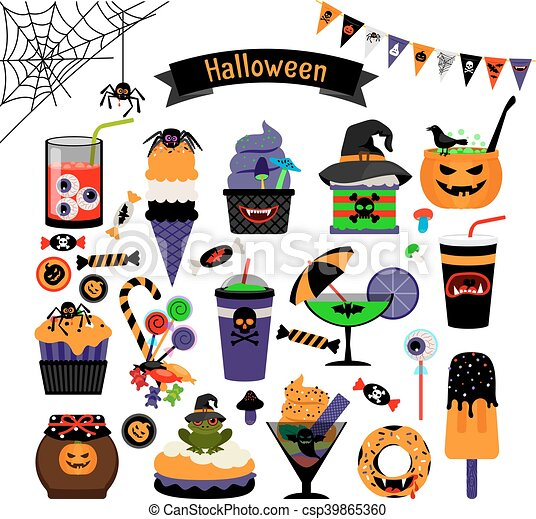 Halloween witchcraft sweets flat icons - csp39865360
