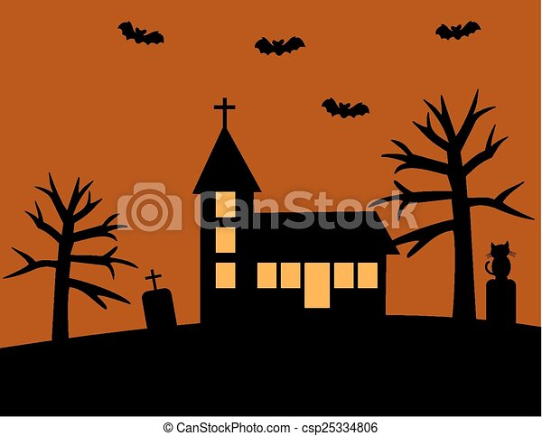 halloween with church csp25334806