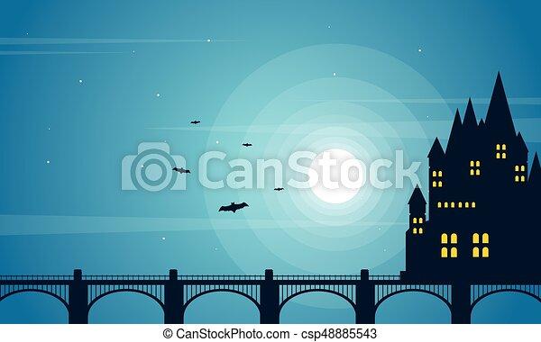 Halloween with dark castle collection background - csp48885543
