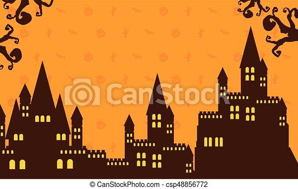 Halloween with dark castle collection - csp48856772