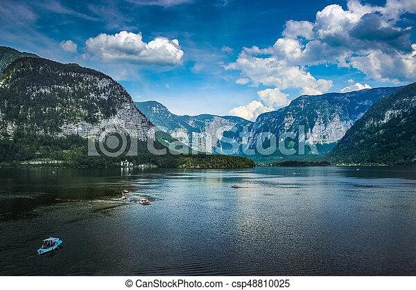 Hallstatt lakeside village in Austria - csp48810025