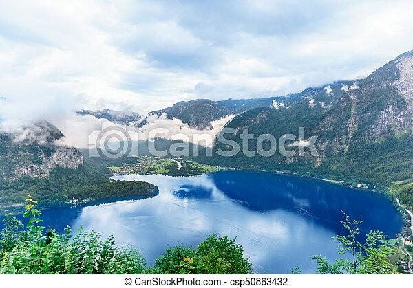 Hallstatt mountain village in the Austria - csp50863432