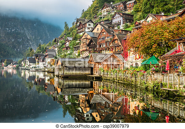 Hallstatt on the lake in autumn - csp39007979