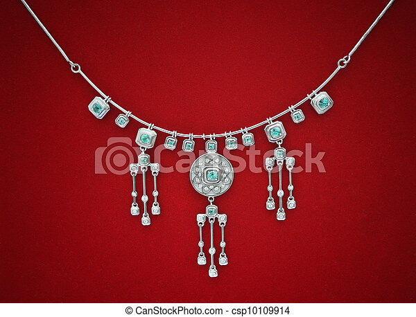 halsschmuck, diamant, stoff, hintergrund, rotes  - csp10109914