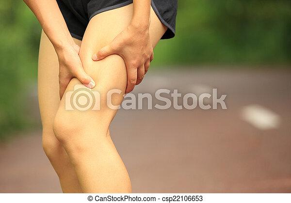 halten, frau, bein, verletzt, sport - csp22106653