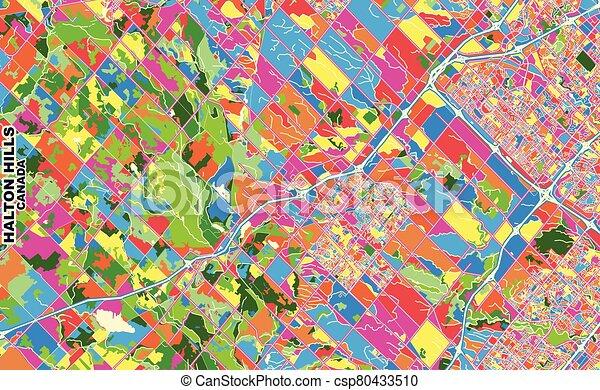 Halton Hills, Ontario, Canada, colorful vector map - csp80433510