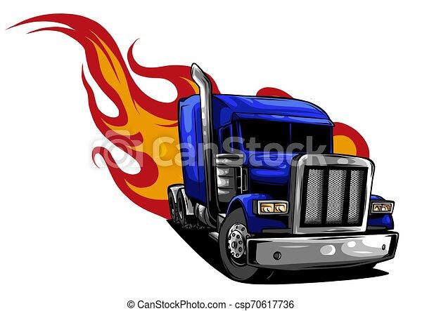 halv-, illustration, vektor, design, truck., tecknad film - csp70617736