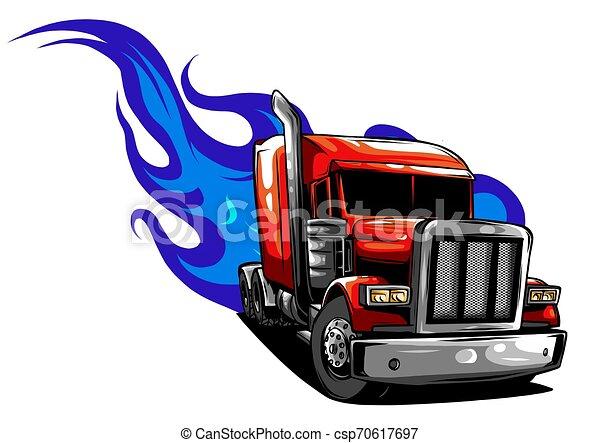 halv-, illustration, vektor, design, truck., tecknad film - csp70617697