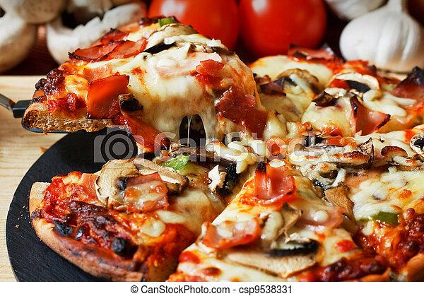 Ham and Mushroom Pizza - csp9538331