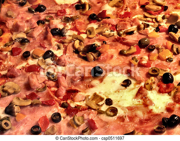 Ham and olives pizza topping - csp0511697