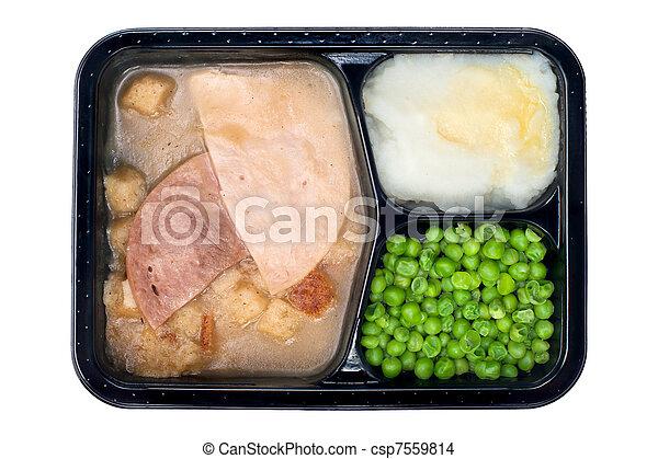 Ham and turkey TV dinner - csp7559814