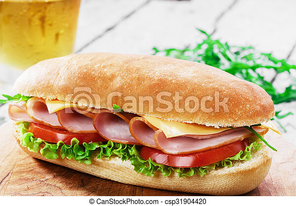 ham sandwich with cheese and tomato - csp31904420
