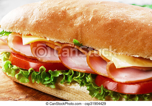 ham sandwich with cheese and tomato - csp31904429
