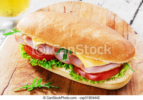 ham sandwich with cheese and tomato - csp31904442