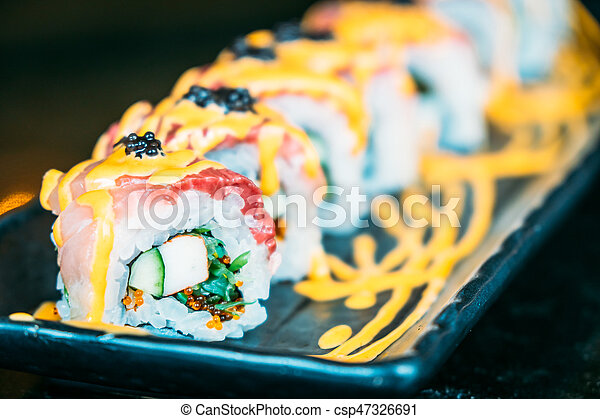 Selective Focus Point On Hamachi Sushi Japanese Food Style Color