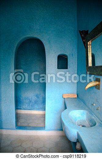 Hamam, riad. Blaues, badezimmer, -, marokkanisch, sauna, hamam ...