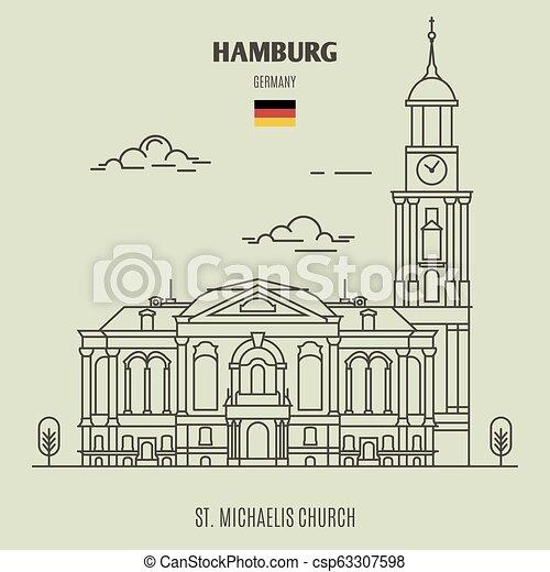 hambourg, église, germany., repère, michaelis, icône, rue. - csp63307598