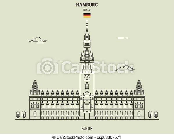 hambourg, germany., repère, icône, rathaus - csp63307571