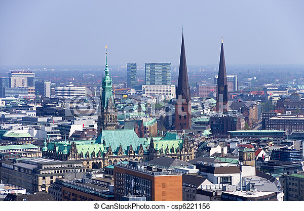 hamburg skyline aerial photo over the roofs of hamburg with rathaus. Black Bedroom Furniture Sets. Home Design Ideas