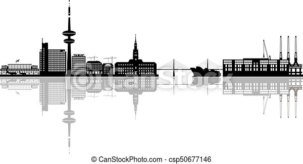 hamburg skyline with harbor and airport hamburg skyline in germany with harbor and airport. Black Bedroom Furniture Sets. Home Design Ideas