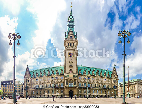 Hamburg town hall at market square in Altstadt quarter, Germany - csp33923983