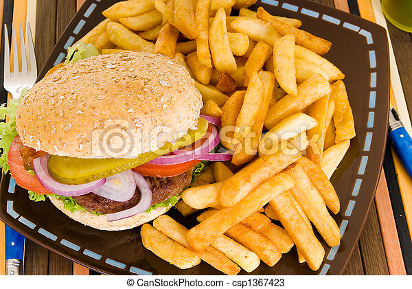 Hamburger and fries - csp1367423