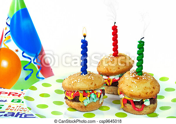 Cool Hamburger Birthday Cakes Candles And Party Hat With Hamburger Funny Birthday Cards Online Inifodamsfinfo