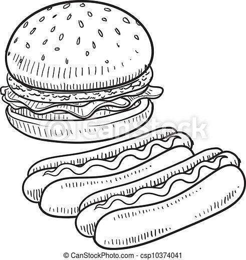 hamburger, chien, croquis, chaud - csp10374041