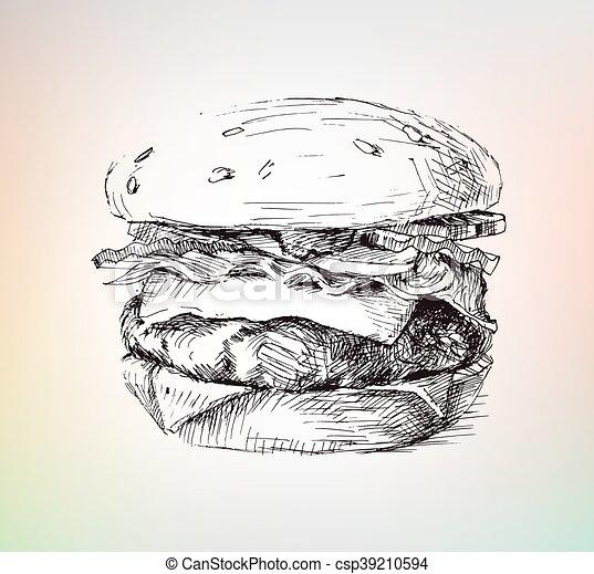 Hamburger Dessin Salade Viande Main