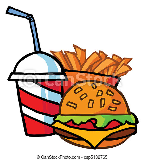 Hamburger Drink And French Fries - csp5132765