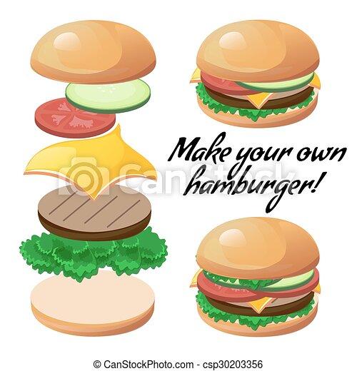 hamburger, faire, ton, coutume - csp30203356