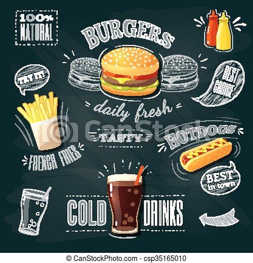 hamburger, fastfood, 10., advertenties, illustratie, -, bakken, hotdog., franse , eps, vector, chalkboard - csp35165010