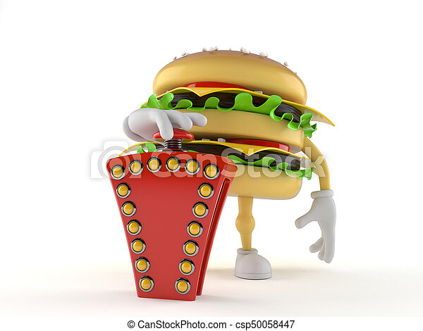 hamburger, gombolódik tol, betű, vetélkedő - csp50058447