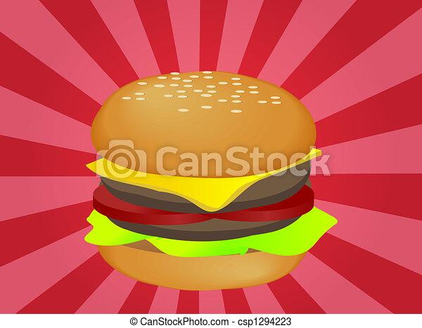 hamburger illustration layered burger with cheese drawings