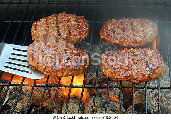 hamburger, invertendo, barbecue - csp7482854