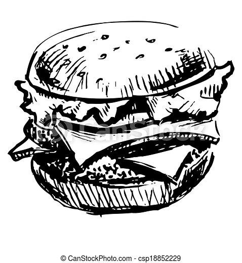 hamburger, juteux, délicieux - csp18852229
