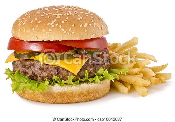 Burger und Pommes - csp10642037